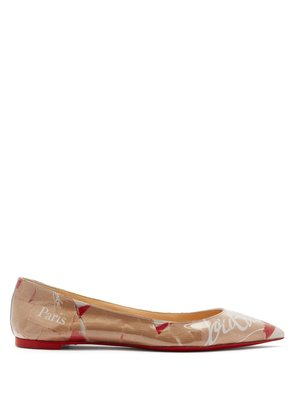Kraft PVC and leather pointed flats