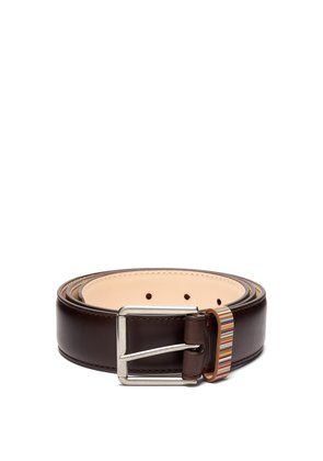 Signature stripe keeper leather belt