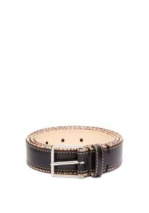 Signature stripe-trimmed leather belt
