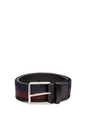 Leather-trimmed striped canvas belt