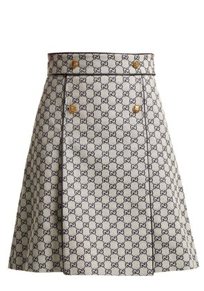 Logo-print cotton-blend skirt