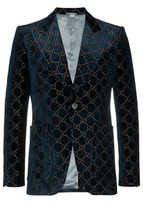 Gucci logo jacquard cotton blend velvet blazer - Blue