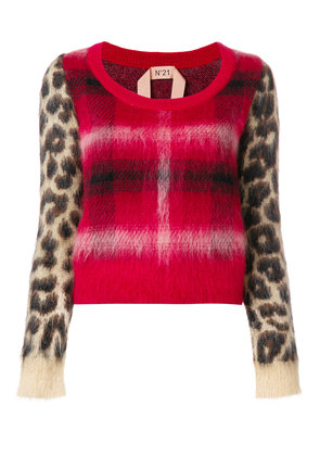 No21 checked leopard printed sweater - Red
