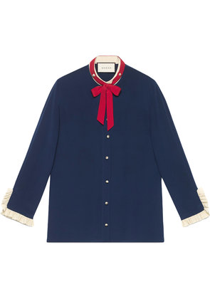 Gucci Silk shirt with neck tie - Blue