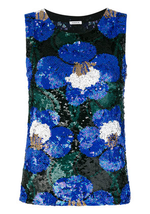 P.A.R.O.S.H. floral sequinned tank - Blue