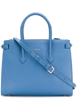 Furla logo plaque tote bag - Blue