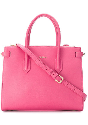 Furla logo plaque tote bag - Pink & Purple