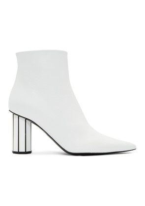 Proenza Schouler White Pointy Faceted Heeled Boots