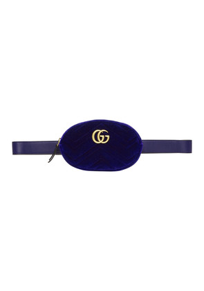Gucci Blue Velvet GG Marmont 2.0 Belt Bag