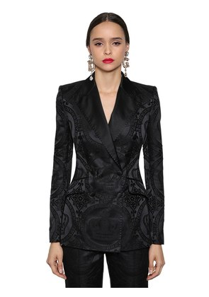 DOUBLE BREASTED JACQUARD BLAZER