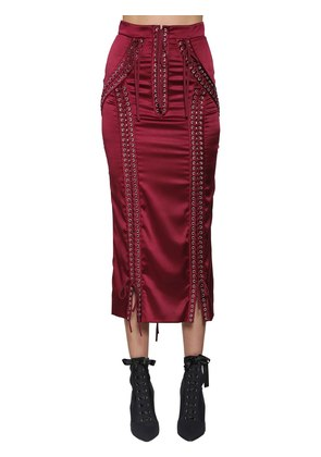 LACE-UP STRETCH SATIN PENCIL SKIRT