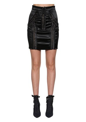 LACE-UP STRETCH SATIN MINI SKIRT