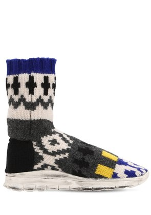 SOCK JACQUARD KNIT HIGH TOP SNEAKERS
