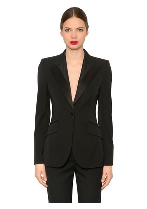 STRETCH COOL WOOL & SILK TUXEDO BLAZER