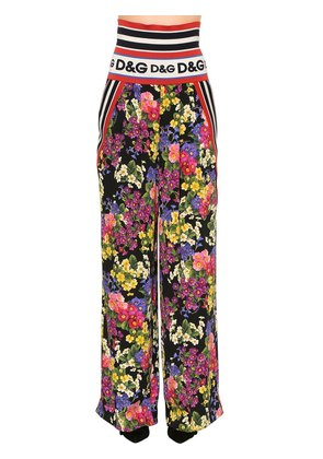 FLORAL STRETCH SILK CHARMEUSE PANTS
