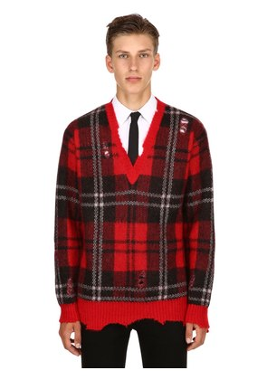 PLAID MOHAIR & WOOL V-NECK SWEATER