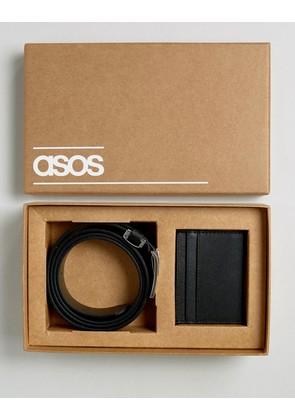 ASOS Leather Belt & Wallet Gift Set With Saffiano Emboss - Black