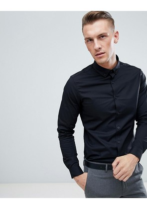ASOS Slim Shirt in Black With Button Down Collar - Black