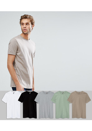 ASOS T-Shirt With Crew Neck 5 Pack SAVE - Wh/bk/gymr/grs/cl