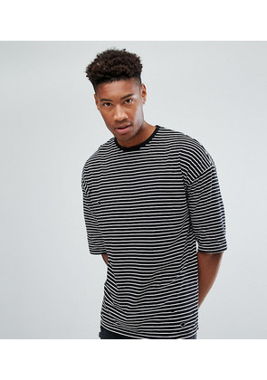 ASOS TALL Oversized Stripe T-Shirt With Distressing - Black