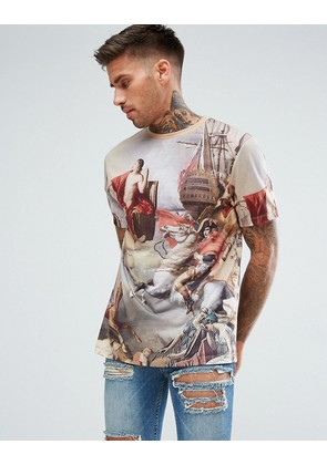 ASOS Relaxed T-Shirt With Historical Scenic Print - Beige