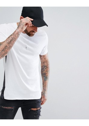 ASOS Longline T-Shirt With Curve Hem and Gusset Contrast In White - White/bal