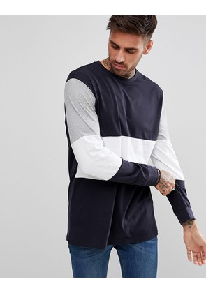 ASOS Relaxed Longline Long Sleeve T-Shirt In Navy Colour Block - Navy
