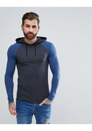 ASOS Muscle Fit Hooded Raglan Long Sleeve T-Shirt With Cuffs - Charcoal/ dk denim