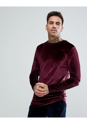 ASOS Longline Muscle Long Sleeve T-Shirt With Curve Hem In Oxblood Velour - Oxblood