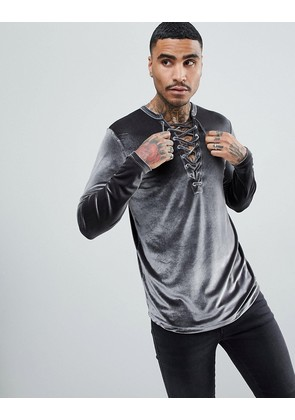 ASOS Longline Long Sleeve T-Shirt With Deep Lace Up Neck In Velour - Grey