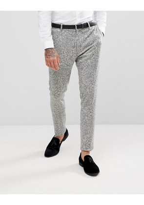 ASOS Super Skinny Suit Trousers in Black And White Printed Crosshatch - Multi