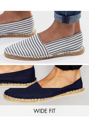 ASOS Wide Fit Canvas Espadrilles in Navy and Blue Stripe 2 Pack SAVE - Multi