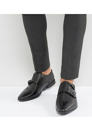 ASOS Wide Fit Monk Shoe In Black Leather With Embossing - Black