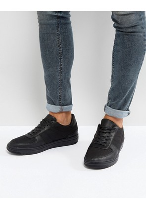 ASOS Trainers In Black Nylon And Leather Look - Black