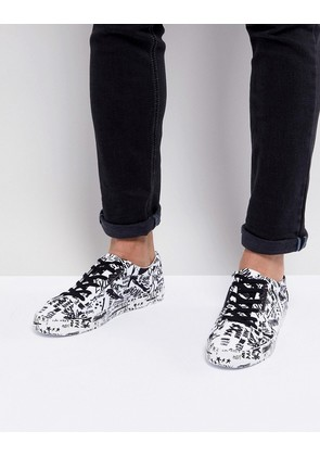 ASOS Lace Up Trainers With Graffiti Print - White