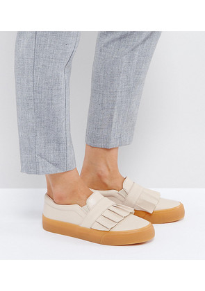 ASOS DAPHNE Wide Fit Ruffle Loafer Trainer - Nude
