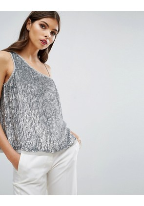 ASOS One Shoulder top in Sequin - Silver