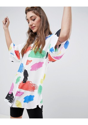 ASOS DESIGN oversized shirt in bright abstract print - Multi