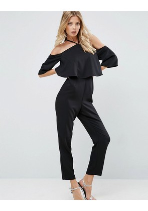 ASOS Jumpsuit with Ruffle Bardot and Halter Neck Detail - Black