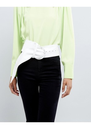 ASOS White Wide Waist Belt With Ring Buckle - White