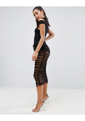 ASOS Tulle Sheer Midi Skirt with Knicker Under Layer - Black