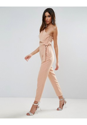 ASOS One Shoulder Jumpsuit with Knot Detail - Tan