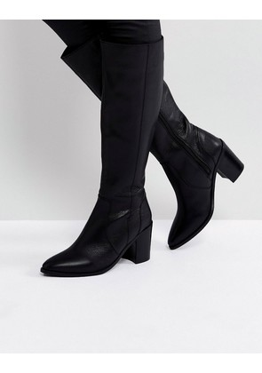 ASOS CAUGHT UP Leather Knee High Boots - Black