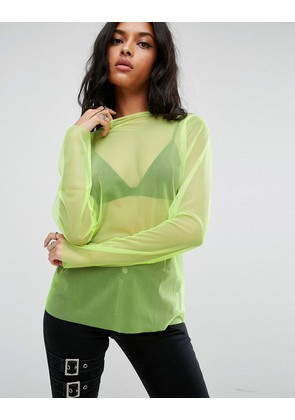 ASOS Top with High Neck in Neon Mesh - Neon yellow