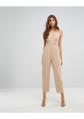 ASOS Jumpsuit in Chiffon with Corset Bodice - Tan