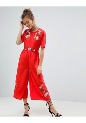 ASOS Embroidered Tea Jumpsuit - Red