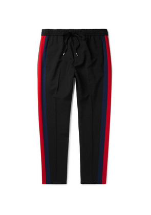 Tapered Striped Wool And Mohair-blend Twill Drawstring Trousers