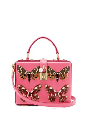 Crystal and butterfly-print leather box bag