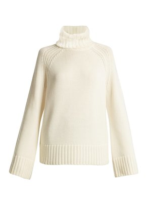 Ribbed roll-neck wool sweater
