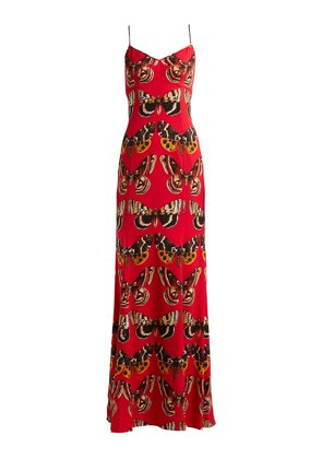 Butterfly-print satin gown